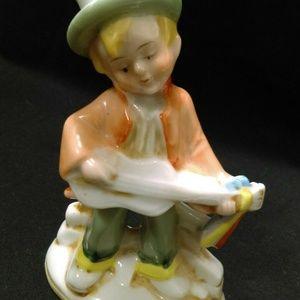 Fiddler Top Hat Guitar Vintage Porcelain Figurine